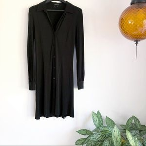 Theory button down long sleeve dress black size 10